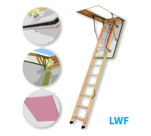 Fakro - LWF 25x54 Wooden Fire Rated Attic Ladder 300lbs 1... - The LWF 25/54 fire-resistant attic ladder provides an easy access to the loft performing at the same time the function of a blaze block in case of a fire inside the building. The hatch manufactured with the use of fireproof materials is equipped with an expanding peripheral seal which ensures tightness during fire. The LWF attic ladder posseses fire resistance of EI 30 minutes. The peripheral seal positioned in the groove milled in the frame provides a first-class tightness. The ladder's segment folding system and possibility to lock the hatch in fully open position ensure an ease of operating. The using safety is ensured thanks to the application of rounded side supporters and remaining hardware which do not pose any threat of cutting. The outer (visible) side of the hatch is smooth without any visible fixing elements.Features: