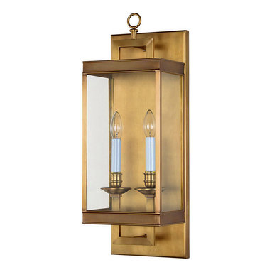 2 Candle Lights Simple Brass and Glass Wall Sconce - The modern wall sconce features brass base, candelabra bulbs and the glass protector around it. With the light directed upward, sconces are most readily used in hallways. Add this contemporary wall lighting fixture to your home and enjoy luminous upgrade.