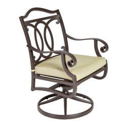 O.W. Lee Palisades Aluminum Swivel Rocking Dining Chair - When summer is in full swing, nothing is quite so luxurious as firing up the grill and spending a lazy evening relaxing in an O.W. Lee Palisades Swivel Rocker Dining Chair and the fresh air of your own backyard. This dining chair is all about that carefree comfort that you can only truly achieve in your own home or yard. The curving arms and back offer a naturally supportive recline that, together with the firm yet bolstering seat cushion, welcomes long, leisurely meals with pleasantly meandering conversation. The swivel rocker base only adds to this lavish feeling. And this kind of contentment shouldn't have to come at the expense of style. These dining chairs achieve this level of comfort through cleverly designed and finely crafted elegant scrollwork.Materials and construction: Only the highest quality materials are used in the production of O.W. Lee Company's furniture. Carbon steel, galvanized steel, and 6061 alloy aluminum is meticulously chosen for superior strength as well as rust and corrosion resistance. All materials are individually measured and precision cut to ensure a smooth, and accurate fit. Steel and aluminum pieces are bent into perfect shapes, then hand-forged with a hammer and anvil, a process unchanged since blacksmiths in the middle ages. For the optimum strength of each piece, a full-circumference weld is applied wherever metal components intersect. This type of weld works to eliminate the possibility of moisture making its way into tube interiors or in a crevasse. The full-circumference weld guards against rust and corrosion. Finally, all welds are ground and sanded to create a seamless transition from one component to another. Each frame is blasted with tiny steel particles to remove dirt and oil from the manufacturing process, which is then followed by a 5-step wash and chemical treatment, resulting in the best possible surface for the final finish. A hand-applied zinc-rich epoxy primer is used to create a protective undercoat against oxidation. This prohibits rust from spreading and helps protect the final finish. Finally, a durable polyurethane top coating is hand-applied, and oven-cured to ensure a long lasting finish. About O.W. Lee Company An American family tradition, O.W. Lee Company has been dedicated to the design and production of fine, handcrafted casual furniture for over 60 years. From their manufacturing facility in Ontario, California, the O.W. Lee artisans combine centuries-old techniques with state-of-the-art equipment to produce beautiful casual furniture. What started in 1947 as a wrought-iron gate manufacturer for the luxurious estates of Southern California has evolved, three generations later, into a well-known and reputable manufacturer in the ever-growing casual furniture industry.