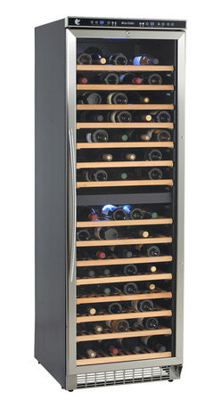 "Avanti - 149 Bottle Dual Zone wine cooler - One Touch Digital Control for Red, White, or Sparkling Wine, Stores up to 74 Wine Bottles in Upper Zone and up to 75 Wine Bottles in Lower Zone, Reversible Tempered Double-Glass Door with Stainless Steel Trim, One Touch Dual Function Electronic Display for Monitoring Temperature (F/C�), Dual Electronic Temperature Controls, One Touch ON/OFF Interior Cavity LED Lighting System, Wooden Shelves on a Sturdy Pull-Out Roller Assembly, Built-In Interior Fan for Temperature Control, Stainless Steel Handle, Security lock with key, Unit dimensions 71"" H x 23.5"" W x 26.75"" D"
