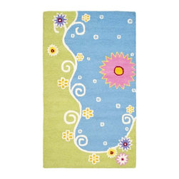Safavieh - Kids Wool Rectangular Rug (6 ft. x 4 ft.) - Choose Size: 6 ft. x 4 ft. Novelty design. High-quality . Hand tufted. Blue and green color. Made in India. Pile height: 0. 63 in. This is made with premium New Zealand wool lending a lush and warm feel that will go great in any childs play area or bedroom. Luxuriously soft, Safavieh Kids hooked rugs of pure cotton make an all-natural statement for kids with a flair for fashion. Only cotton could achieve the bright colors required of these impactful designs, which were created for kids, but work equally well as accent rugs in other areas of the home. Every pattern in this collection is designed to become the artful focal point of a truly special room. Care Instructions: Vacuum regularly. Brushless attachment is recommended. Avoid direct and continuous exposure to sunlight. Do not pull loose ends clip them with scissors to remove. Remove spills immediately; blot with clean cloth by pressing firmly around the spill to absorb as much as possible. For hard-to-remove stains professional rug cleaning is recommended.