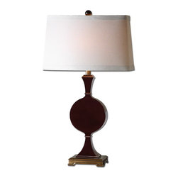 Uttermost - Uttermost 27508-1  Aileen Dark Red Table Lamp - High gloss oxblood-red finish accented with antiqued gold details. the tapered oval hardback shade is a beige linen fabric.