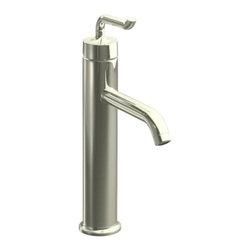 KOHLER - KOHLER K-14404-4-SN Purist Tall Single-Control Lavatory Faucet - KOHLER K-14404-4-SN Purist Tall Single-Control Lavatory Faucet with Smile Design Handle in Polished Nickel