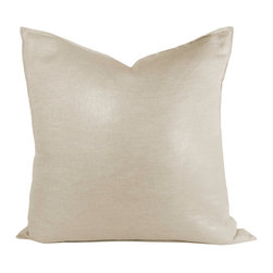 Metallic Coco Linen Pillow - This pillow brings a touch of glamour to any room. 100% linen. Invisible zipper with feather down insert.