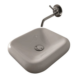 "WS Bath Collections - Cento 3542 Ceramic Sink 15.7"" x 16.1"" - Why put a boring basin in your WC? This rounded square sink with a wall-mounted faucet, designed by Marc Sadler of Italy, makes a modern style statement."