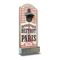 """Bistro De Paris"" Bottle Opener - The mix of cheery red gingham with stately wrought iron makes the inspirations of this Bottle Opener obvious even before you see the charming ""Bistro de Paris"" label painted on the front. Made with an arched top and a metal tray for catching caps, this attractive and practical plaque looks delightful on the wall of a patio space or an interior bar area."