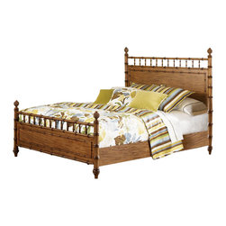 Magnussen - Magnussen Palm Bay Poster Bed in Toffee - Magnussen - Beds - B146956 - About This Product:The fun island style of the Palm Bay bed by Magnussen Home features bamboo trim along the panelwork and posts topped with quirky carved pineapples. This piece brings an eclectic breezy vibe to the bedroom keeping things light with a tasty toffee finish. Paired with bright colors pieces of the same collection or other island-themed pieces this bed brings sunny paradise home.