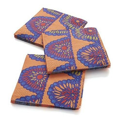 Set of 20 Swag Beverage Napkins - Festive swags of bright flowers row up on orange paper napkins.