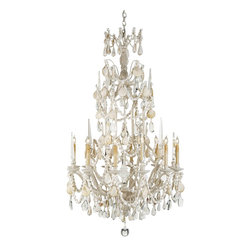 Currey and Company - Currey & Co Buttermere Chandelier - This large eight light chandelier is a glorious combination of seashells and crystal. This unique combination of natural materials and its height make it a striking presence in large open spaces. There is a matching wall sconce.