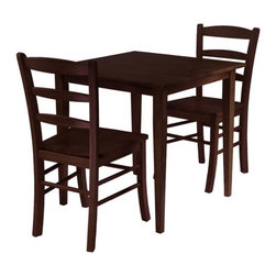 "Winsome - Groveland 3 Piece Dining Set - Features: -Simple, relaxed and straight forward with Shaker style.-Casual design.-Ladder back dining chair.-Set includes square table and two chairs.-Groveland collection.-Collection: Groveland.-Hardware Finish: Metal.-Distressed: No.-Powder Coated Finish: No.-Gloss Finish: No.-Top Material: Solid and composite wood.-Base Material: Solid and composite wood.-Chair Material: Solid and composite wood.-Solid Wood Construction: No.-Reclaimed Wood: No.-Number of Items Included: 3.-Hardware Material: Metal.-Non-Toxic: Yes.-Scratch Resistant: No.-Rust Resistant: No.-Leaf Included: No.-Seating Capacity: 4.-Wine Storage: No.-Shelving: No.-Drawers: No.-Corner Block: No.-Stemware Holder: No.-Upholstered Side Chair: No.-Upholstered Arm Chair: No.-Upholstered Bench: No.-Cushioned Chair Seats: No.-Chair Casters: No.-Lighted: No.-Outdoor Use: No.-Weight Capacity: 200 lbs.-Swatch Available: No.-Commercial Use: No.-Recycled Content: No.-Eco-Friendly: No.Specifications: -ISTA 3A Certified: No.-General Conformity Certified: Yes.Dimensions: -Table: -Overall Table Height - Top to Bottom: 29.13"".-Overall Table Width - Side to Side: 29.53"".-Overall Table Depth - Front to Back: 29.53"".-Overall Table Weight: 30 lbs..-Side Chair: -Overall Side Chair Height - Top to Bottom: 34.7"".-Overall Side Chair Width - Side to Side: 16.6"".-Overall Side Chair Depth - Front to Back: 20.5""..Assembly: -Assembly Required: Yes.-Additional Parts Required: No.Warranty: -Product Warranty: Replacement parts within 60 days from date of purchase."