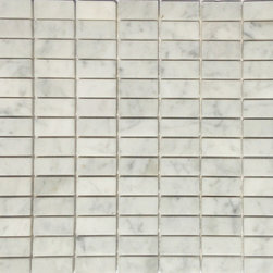 "Honed Carrara 1/2"" x 1"" Rectangle Tile, Greys & Whites, 12"" X 12"" Full Sheet, Ho - Honed Stacked Carrara Marble Mosaic Tile.  This marble mosaic tile provides a number of design possibilities from contemporary to classic. It can be used for both commercial and residential settings.  We recommend it for kitchen backsplashes, bathroom floors and walls as well as wet areas (i.e. shower floors and walls).  The mesh backing not only simplifies installation, it also allows the tiles to bend and seperate easily. The tiles have a polished finish. The natural material will have some color variation."
