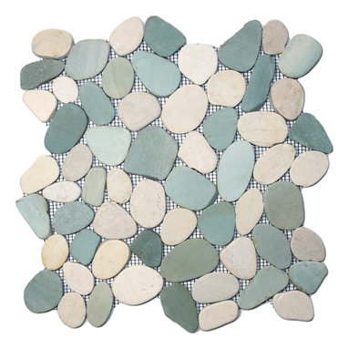 """CNK Tile - Sliced Sea Green and White Pebble Tile - Each pebble is carefully selected and hand-sorted according to color, size and shape in order to ensure the highest quality pebble tile available.  The stones are attached to a sturdy mesh backing using non-toxic, environmentally safe glue.  Because of the unique pattern in which our tile is created they fit together seamlessly when installed so you can't tell where one tile ends and the next begins!     Usage:    Shower floor, bathroom floor, general flooring, backsplashes, swimming pools, patios, fireplaces and more.  Interior & exterior. Commercial & residential.     Details:    Sheet Backing: Mesh   Sheet Dimensions: 12"""" x 12""""   Pebble size: Approx 3/4"""" to 2 1/2""""   Thickness: Approx 3/8""""   Finish: Natural Sliced Green & White"""