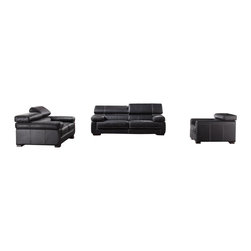 VIG Furniture - 381 Full Black Top Grain Italian Leather 3 Piece Sofa Set - The 381 sofa set is a great addition for any living room that needs a touch of modern design. This sofa set comes fully upholstered in a beautiful black top grain Italian leather. High density foam is placed within the cushions for added comfort. The sectional features adjustable headrests that add that extra touch of relaxation. The sofa set includes a sofa, loveseat, and chair only.
