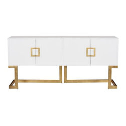 Worlds Away - Worlds Away Braxton Console-White/Gold - White lacquer media console with gold leaf base and square handle