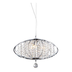 Warehouse of Tiffany - Pan' Chrome and Crystal 3-light Chandelier - Add some elegance to your home with this 'Persephone' chrome chandelier. This dynamic lighting element features generous rows of cascading crystals to catch the light and steal the attention in any room. Includes 49 inches of cableSetting: IndoorFixture finish: ChromeMaterial: Metal and crystalSwitch: HardwiredNumber of lights: Three (3)Requires three (3) 40-watt light bulbs (not included)Dimensions: 58 inches high x 22 inches wide x 14 inches deepShade: 9 inches high x 14 inches wideThis fixture does need to be hard wired. Professional installation is recommended.Attention California Residents: This product contains Lead, a chemical known to the State of California to cause cancer and other reproductive harm.CSA Listed, ETL Listed, UL Listed