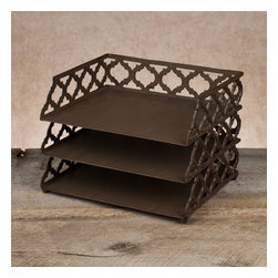 "Gracious Goods GG - GG Collection Ogee-G 3 Tiered Document Tray - An essential for keeping tasks organized! Three levels of bronzed beauty sit one on top of the other to keep your home and business office organized to perfection. Beautiful metal scroll work in the new Ogee-G design makes this desk accessory timeless and stunning. Our much loved Ogee-G Collection is a new Gracious Goods line with a contemporary twist. Match with our other Gracious Goods desktop accessories to complete your set. * Dimensions: W: 13"" D: 10.5"" H: 9"""
