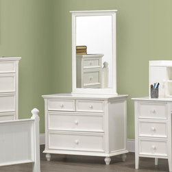 Homelegance - Homelegance Whimsy 4 Drawer Kids' Dresser w/ Mirror in White - Today your little girl loves purple tomorrow white or maybe green or was it yellow? The Whimsy Collection offers her the option to customize her room to reflect those fantastic whims of youth. Each front drawer panels of the case pieces can be flipped to reveal a different color floral motif. The cottage style collection features cases goods that have been scaled to fit into your child s world.