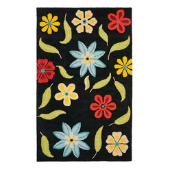 Safavieh - Country & Floral Blossom 8'x10' Rectangle Black - Multi Color Area Rug - The Blossom area rug Collection offers an affordable assortment of Country & Floral stylings. Blossom features a blend of natural Black - Multi Color color. Hand Hooked of Wool the Blossom Collection is an intriguing compliment to any decor.