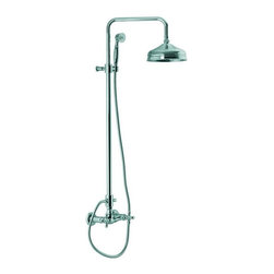 Nameeks - Fima Frattini by Nameeks S5005/2 Shower System with Hand Shower - S5005/2BR - Shop for Shower Hardware from Hayneedle.com! The Fima Frattini by Nameeks S5005/2 Shower System with Hand Shower is a classical-style centerpiece to your new bathroom decor. A vertical slide bar features a straight-extension circular shower head and a mounting bracket for the hand-held shower-head letting you adjust its height and angle easily. A cylindrical base is home to a single cross-knob handle to allow control over both water temperature-mix and volume-flow. The unit is made from brass and features a protective finish to prevent scratches and water-damage available in your choice of gold satin nickel polished chrome rustic or brass. Product Specifications: ADA Compliant: Yes Country of Origin: Italy Drain Assembly Included: No Mounting Style: Wall Mount Hose length: 60 inches Number of Handles: 1 Handle Style: Knob Showerhead Width: 8 inches Overall Height: 41.33 inches Spout Reach: 11.81 inches Spray Pattern: Dual-function Valve Included: No About NameeksFounded with the simple belief that the bath is the defining room of a household Nameeks strives to design a bath that shines with unique and creative qualities. Distributing only the finest European bathroom fixtures Nameeks is a leading designer developer and marketer of innovative home products. In cooperation with top European manufacturers their choice of designs has become extremely diversified. Their experience in the plumbing industry spans 30 years and is now distributing their products throughout the world today. Dedicated to providing new trends and innovative bathroom products they offer their customers with long-term value in every product they purchase. In search of excellence Nameeks will always be interested in two things: the quality of each product and the service provided to each customer.