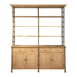 Kathy Kuo Home - Livre French Country Iron Pine Wood Large Bookcase - This oversized, French Country cabinet has storage space and display shelves in a beautifully-finished rustic pine framework. Four sliding drawers, four large cabinets and four wooden shelves hold everything from linens to kitchen supplies. The textured zinc patina on the rounded iron supports adds an industrial element to balance with the rustic pine.