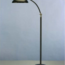 """Robert Abbey - Robert Abbey 1847 Bruno 45"""" - 53-1/2"""" 1 Light Floor Lamp in Bronze 1847 - This floor lamp is moveable in two places for easy task lighting. It is 53-1 2"""" in height when fully adjusted. A curved stem maintains sleek style, perfect for over a desk or chair. Nickel accents add character and contrast with the dark bronze stem. With sophisticated style and convenient adjustments, this floor lamp will modernize any office or living room.Adjustable Height: 45"""" - 53-1 2"""" Bulb Type: Incandescent Collection: Bruno Finish: Lead Bronze Numner of Lights: 1 Origin: China Shade: Metal Wattage: 60W Max Weight: 23"""