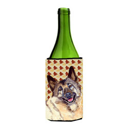 Caroline's Treasures - Norwegian Elkhound Fall Leaves Portrait Wine Bottle Koozie Hugger - Norwegian Elkhound Fall Leaves Portrait Wine Bottle Koozie Hugger Fits 750 ml. wine or other beverage bottles. Fits 24 oz. cans or pint bottles. Great collapsible koozie for large cans of beer, Energy Drinks or large Iced Tea beverages. Great to keep track of your beverage and add a bit of flair to a gathering. Wash the hugger in your washing machine. Design will not come off.