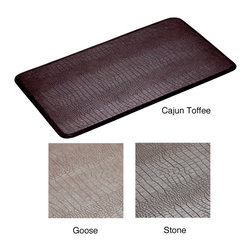 None - Gator Anti-fatigue 26 x 48 inch Comfort Mat - This anti-fatigue cushioned Comfort Mat has a non-slip bottom and no-curl edges. It is available in several color options that feature a crocodile skin pattern. It is easy to clean,waterproof,shown to significantly reduce fatigue,and washable.