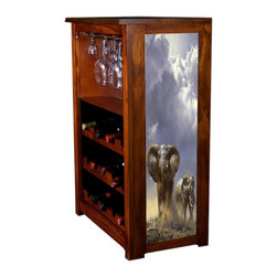 Kelseys Collection - Wine Cabinet 15 bottle African Rains by Donald Grant - Wine Cabinet stores fifteen wine bottles and glassware with licensed artwork by Donald Grant giclee-printed on canvas side panels  The frame, top, and racks are solid New Zealand radiata pine with a hand stained and hand rubbed medium reddish brown finish, which is then protected with a lacquer coat and top coat. The art is giclee printed on canvas with three coats of UV inhibitor to protect against sunlight, extending the life of the art. The canvas is then glued onto panels and inserted into the frames.