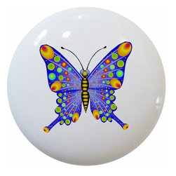 Carolina Hardware and Decor, LLC - Blue Yellow Butterfly Ceramic Knob - New 1 1/2 inch ceramic cabinet, drawer, or furniture knob with mounting hardware included. Also works great in a bathroom or on bi-fold closet doors (may require longer screws). Item can be wiped clean with a soft damp cloth. Great addition and nice finishing touch to any room!