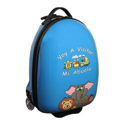 """Mercury Luggage - Children's Carry-on Luggage in Blue - Logo in Spanish. Carry-on approved. Clear in-line wheels. Lined interior . Internal zippered divider . Fun, bright and durable. 12 in. L x 9 in. W x 18 in. H (4 lbs)They will enjoy the pictures of the animals on the front and back and so will the Parents & Grandparents. It has a a push button adjustable telescopic handle & pulls out to (18 in. or 10 in.), and a top center carry handle, 2.5 in. Clear Plastic in-line skate wheels with protective guards. On the bottom is a foot-support for stand alone balance, has a """"U"""" shaped zipper opening. The inside has has nylon lining, tie down straps on one side with a """" U """" shaped zipper on the other side to protect personal items."""