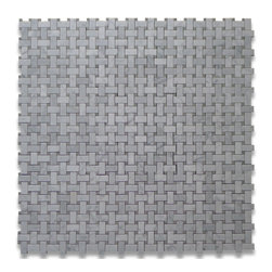 Carrara White 1 x 2 Basketweave Mosaic Tile w/ Gray Dots Polished - Premium Grade Carrara Marble Italian White Bianco Carrera Polished 1 x 2 Basket Weave Mosaic w/ Gray Dots Wall & Floor Tiles are perfect for any interior/exterior projects such as kitchen backsplash, bathroom flooring, shower surround, countertop, dining room, entryway, corridor, balcony, spa, pool, fountain, etc. Our large selection of coordinating products is available and includes hexagon, herringbone, brick mosaics, field, subway tiles, moldings, borders, and more.