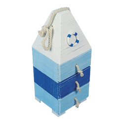 "Blue & White Wooden Buoy w/ Drawers - The distressed wooden buoy w/ drawers measures 15"" x 5.7"" x 6"". This item is white  blue in color and has three drawers. It makes a great gift  works well in many decor environments."
