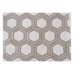 Mission Stone Tile - Hex Appeal Mosaic, Ivory and Athens Silver Cream Marble, 1 Piece/.72square Feet - Apparently, there are now six sides to every story.