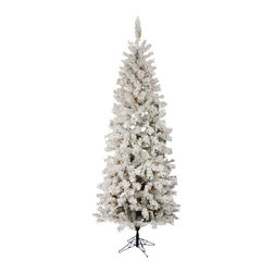 """Vickerman - Flocked Pacific Dura-Lit 400C (7.5' x 36"""") - 7.5' x 36"""" Flocked Pacific Pencil Tree 438 PVC tips, 400 Dura-Lit Clear Lights, with metal stand. Dura-lit Lights utilize microchips in each socket so bulbs stay lit even when some bulbs are broken or missing."""