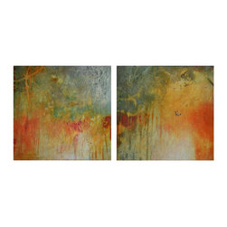 """Gemstone, Original, Mixed Media - """"Gemstone is a set of two abstract, mixed media paintings. Each measures 12""""""""x12""""""""x1.5"""""""" and is embellished with composite gold leaf, metallic bronze and iridescent gold paints, giving the paintings a shimmering glow that dances in the light.  A glossy acrylic sealer has been applied to the surface of the paintings to give the illusion of depth and to protect the beauty of the work. The rich look of precious gems and the patina of rust are combined together in these unique pieces. The sides are painted in a steely black/gray micaceous iron oxide.  The work is signed on the side of one of the canvases, dated and signed on the back of each. These paintings are wired and ready to hang.  Framing is not needed."""""""