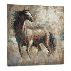 """Vertuu Design - 'Charmed I' Artwork - Give your rustic decor a modern update with the """"Charmed I"""" Artwork. Featuring a wild horse against a textured beige and white background, this hand-painted acrylic canvas has a soft, but striking look. Blue, orange and red accents provide a welcome contrast to the piece's subdued color palette."""