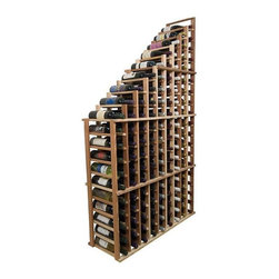 Wine Cellar Innovations - Left Falling Waterfall Wine Rack (Premium Redwood - Unstained) - Choose Wood Type and Stain: Premium Redwood - Unstained. Bottle capacity: 135. Beveled ends and rounded edges. Labels are safe from tearing. Full wine bottle depth coverage at 13.5 in. deep. Front height: 38.5 in.. Overall: 41.19 in. W x 13.5 in. D x 72 in. H (90 lbs.). Designer collection. Made in USA. Warranty. Assembly Instructions. Rack should be attached to a wall to prevent wobbleIndividual bottle wine storage cascading down with a waterfall of display bottles on top. The waterfall starts at 19 rows and drops down to 11 rows. You can have a double deep waterfall display come out from a wall to the center of a room for a dramatic display effect.