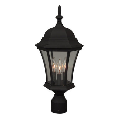 Exteriors - Exteriors Cast Aluminum Curved Glass Outdoor Post Lantern Light X-50-543Z - The fluid tapering of this Craftmade outdoor post lantern light gives it a more refined appeal that is sure to please. The curved glass panels have been paired with cast aluminum construction and candelabra lights, making it a long-lasting addition to your home's outdoor security lighting scheme. A dark jet Black finish accentuates the finer details and compliments the classic style, pulling the look together.