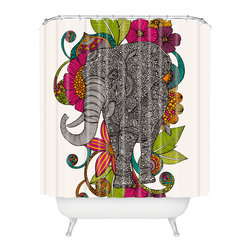 DENY Designs - Valentina Ramos Ruby The Elephant Shower Curtain - Who says bathrooms can't be fun? To get the most bang for your buck, start with an artistic, inventive shower curtain. We've got endless options that will really make your bathroom pop. Heck, your guests may start spending a little extra time in there because of it!