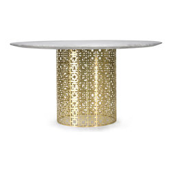 "Jonathan Adler - Jonathan Adler Nixon Marble & Brass Dining Table - Fresh yet familiar, the Jonathan Adler Nixon design nods to mid-century style with an eye to the future. A perforated pattern forms the metal base of this brass dining table topped with white marble for a sleek, modern look. 51"" Dia x 30""H; Marble round top; Brushed brass base; Seats 6; Scaled for dining table or entry table. Assembly required"