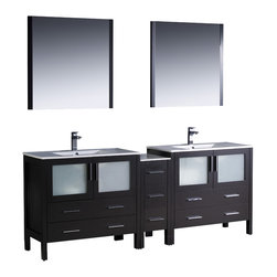 """Fresca - Fresca Torino 84"""" Espresso Double Sink Vanity w/ Side Cabinet & Sinks - Dimensions of vanity:  83.5""""W x 18.13""""D x 33.75""""H. Dimensions of mirror:  31.5""""W x 31.5""""H x 1.25""""D. Materials:  Plywood w/ veneer, ceramic sinks w/ overflow. Single hole faucet mounts. P-traps, faucets, pop-up drains and installation hardware included.  Fresca is pleased to usher in a new age of customization with the introduction of its Torino line.  The frosted glass panels of the doors balance out the sleek and modern lines of Torino, making it fit perfectly in either town or country decor.  Available in the rich finishes of Espresso, Glossy White, Light Oak and Walnut Brown."""