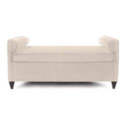"""Howard Elliott Sterling Sand Cosmopolitan Daybed - Lounge in style on our Cosmopolitan Daybed. Its sturdy size and construction make it perfect for any sitting room. With built in bolsters and large cushion you may want to take a nap! Seat height is 22""""."""