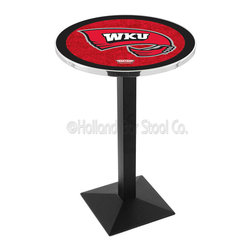 Holland Bar Stool - Holland Bar Stool L217 - Black Wrinkle Western Kentucky Pub Table - L217 - Black Wrinkle Western Kentucky Pub Table belongs to College Collection by Holland Bar Stool Made for the ultimate sports fan, impress your buddies with this knockout from Holland Bar Stool. This L217 Western Kentucky table with square base provides a commercial quality piece to for your Man Cave. You can't find a higher quality logo table on the market. The plating grade steel used to build the frame ensures it will withstand the abuse of the rowdiest of friends for years to come. The structure is powder-coated black wrinkle to ensure a rich, sleek, long lasting finish. If you're finishing your bar or game room, do it right with a table from Holland Bar Stool. Pub Table (1)
