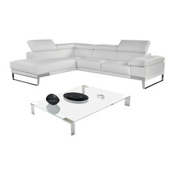 """J&M Furniture - """"Nicoletti"""" Premium Italian Leather Sectional Sofa with Left Chaise - Offering a brilliant combination of comfort, simplicity, and elegance, The """"Nicoletti"""" Sectional Sofa features 3 separate ratchet headrests, elegant chrome legs and thick premium grade Italian leather. Available in black, grey or white, the """"Nicoletti"""" Sectional Sofa will easily suit to any living room decor. Features:"""