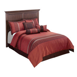 Indiologie Down Alternative Comforter Set, Red, California King - The Indiologie comforter set will provide a bold new look to your bedroom. Its rich Burgundy, Red and spice colors provide warmth to this collection through Horizontal stripes along the comforter. Three decorative pillows in corresponding colors liven up this bed set with beautiful piping, stripes and embroidery details.