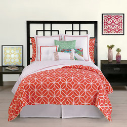"""Trina Turk - Trina Turk Trellis Coral Comforter Set - Chic and cheerful, the Trellis comforter set delivers the contemporary style of Trina Turk to a the bedroom. Slender hairlines cross and coverge to create the geometric look of it signature """"floret"""" pattern in vibrant coral and crisp white. Available in queen and king; 3-piece set includes comforter and 2 pillow shams; 100% cotton sateen; Comforter fill: 100% cotton; Pillow inserts not included; Machine wash; Add optional Palm Springs Block sheet set"""