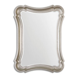 Uttermost - Uttermost Anatolius Silver Leaf Mirror 14543 - This curvaceous, scooped out frame features a heavily antiqued, silver leaf finish. Mirror is beveled. May be hung horizontal or vertical.