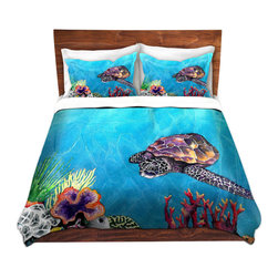 DiaNoche Designs - Duvet Cover Microfiber by Brazen Design Studio - Sea Turtle - Super lightweight and extremely soft Premium Microfiber Duvet Cover in sizes Twin, Queen, King.  This duvet is designed to wash upon arrival for maximum softness.   Each duvet starts by looming the fabric and cutting to the size ordered.  The Image is printed and your Duvet Cover is meticulously sewn together with ties in each corner and a hidden zip closure.  All in the USA!!  Poly top with a Cotton Poly underside.  Dye Sublimation printing permanently adheres the ink to the material for long life and durability. Printed top, cream colored bottom, Machine Washable, Product may vary slightly from image.
