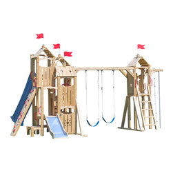 CedarWorks - CedarWorks Frolic 20 Swingset - On your mark, get set... go. You may find it hard to keep up as your kids run through all of the playful options packed into Frolic 20. Multiple deck heights, a Ladder, Climbing Wall and Firefighter's Pole are perfect for kids who love to climb. The Swings, Slide and whimsical star and sun cut outs round out the fun. With hours of high energy excitement built in, might we recommend a good pair of sneakers?