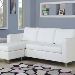 Acme Modern Tuft White Leather Sectional Sofa Couch Reversible Chaise - Features